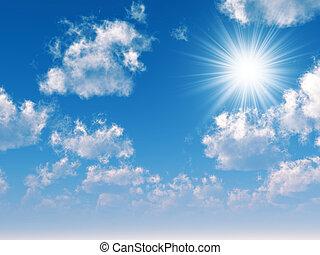 bleu, nuages, rayons, ciel, par, manière, soleil, confection