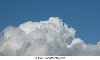 bleu, nuages, sky., défaillance, temps, blanc