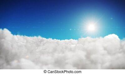 bleu, nuages, soleil, ciel, arrière-plan animation, blanc