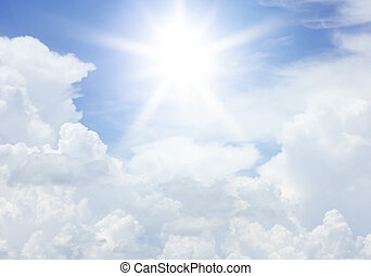 bleu, nuages, soleil, ciel, texture, fond