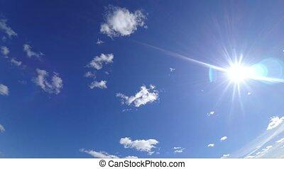 bleu, nuages, soleil, voler, ciel, clair, travers