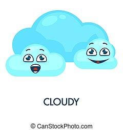 bleu, nuages, symbole, nuageux, temps, doux, heureux