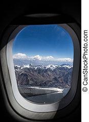bleu, nuages, vol, jet, ciel, fenêtre, vue aérienne