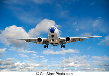 bleu, nuages, -, voyage, voler, ciel, avion air