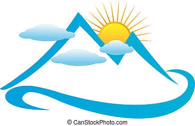 bleu, nuageux, logo, montagnes