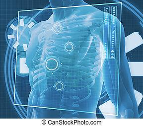 bleu, numérique, corps