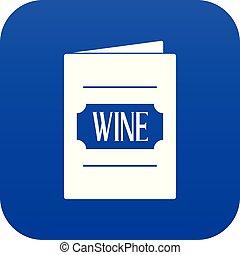 bleu, numérique, liste, vin, icône