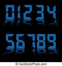 bleu, numérique, nombres, horloge