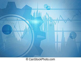 bleu, numérique, roue, fond