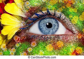 bleu, oeil femme, printemps, maquillage, métaphore, fleurs