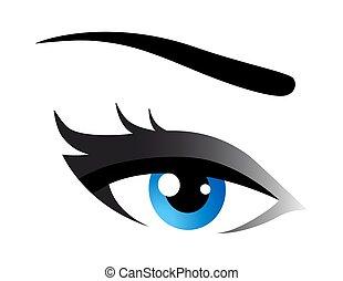 bleu, oeil femme