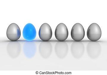 bleu, oeufs, six, -, gris, métallique, ligne, translucide