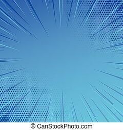 bleu, ombragé, explosion, centre, espace, lumière, corners., deux, halftone, sombre, faisceau, profondeur, fond, vide, perspective., explosion, sunburst, lignes, dimension.