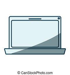 bleu, ombrager, ordinateur portatif, silhouette