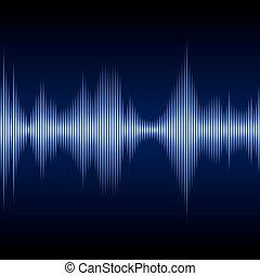 bleu, onde sonore, vecteur, musique, equalizer.