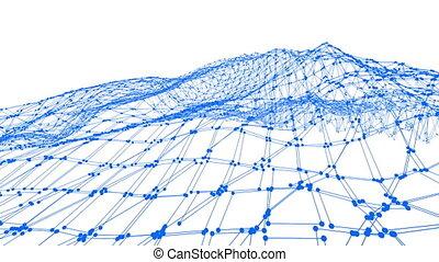 bleu, onduler, propre, résumé, vibrer, environnement, arrière-plan., maille, grille, battre, magnifique, géométrique, ou, math, 3d