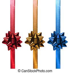 bleu, or, cadeau, rouges, noël, ruban