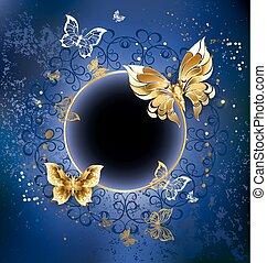 bleu, or, papillons, fond