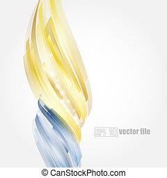 bleu, or, résumé, clair, vecteur, fond