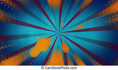 bleu, orange, faire boucle, forme, retro, fond, amusement, ...