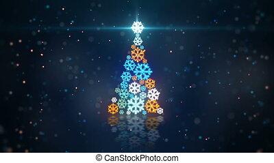 bleu, orange, forme, arbre, noël