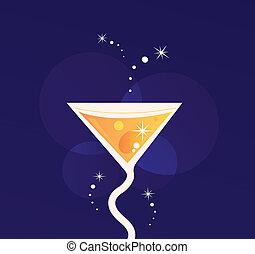 bleu, orange, frais, fête, été, isolé, fond, (, ), boisson