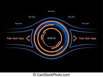 bleu, orange, infographics, exposer, head-up