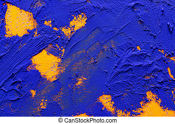 bleu, orange, résumé, oil-painting, fond
