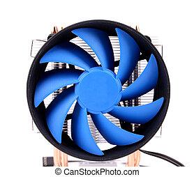 bleu, ordinateur pc, ventilateur, case.