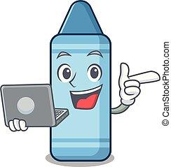 bleu, ordinateur portable, crayon, isolé, mascotte