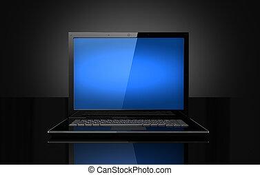 bleu, ordinateur portable, noir, écran