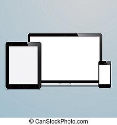 bleu, ordinateur portable, smartphone, fond, tablette