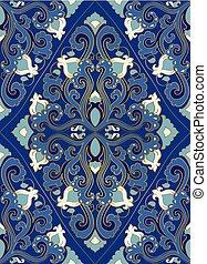 bleu tapis oriental or bleu or tapis illustration vecteur oriental. Black Bedroom Furniture Sets. Home Design Ideas