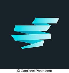 bleu, origami, bannières, papier