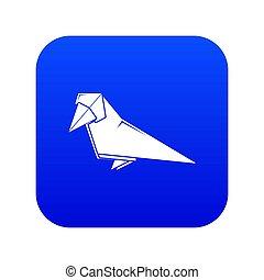 bleu, origami, oiseau, icône