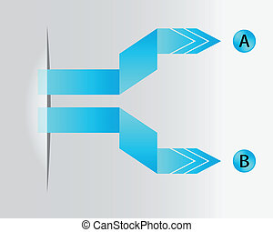 bleu, origami, papier, flèches, spécial