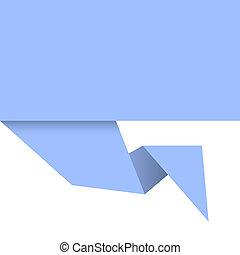 bleu, origami, papier, fond