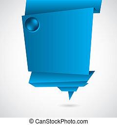 bleu, origami, résumé, fond