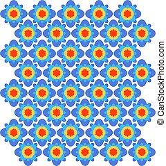 bleu, ornament., pattern., seamless, orange, vecteur, géométrique, rouges
