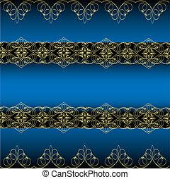 bleu, ornement, fond, or