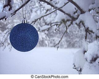 bleu, ornement, noël