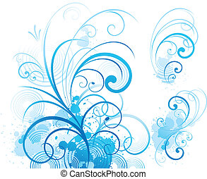 bleu, ornement, rouleau