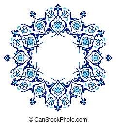 bleu, ottoman, modèle, artistique, serie