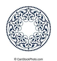 bleu, ottoman, sur, blanc, motifs