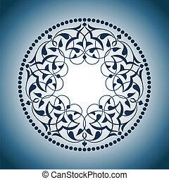 bleu, ottoman, sur, motifs