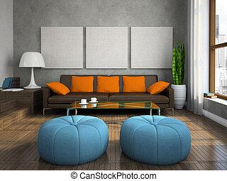 bleu, ottomans, salle séjour, moderne, partie