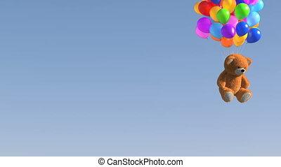 bleu, ours, 4k, 3840x2160, beau, 3d, ultra, matte., arrière-plan animation, voler, anniversaire, alpha, hd, teddy, ballons
