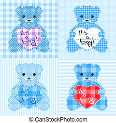 bleu, ours, cartes, teddy