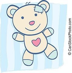 bleu, ours peluche