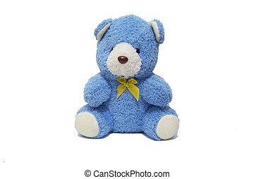 bleu, ours, poupée